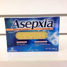 Jabon Asepxia Azufre ataca las imperfecciones, limpiando y eliminando el exceso de grasa. Incluye azufre  que cumple una función desintoxicante