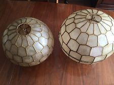 Vintage Capiz Shell Matching Lamp Shades Pair Inch and inch Diamater. Lamp Shades, Light Shades, Shell Lamp, Vintage Lamps, Decor Crafts, Home Decor, Shells, Ebay, Living Room