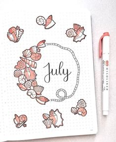 For anyone wanting a non-patriotic theme for their bullet journal this July, why not try a beach theme. Bullet Journal Cover Ideas, Bullet Journal Banner, Bullet Journal School, Bullet Journal Notebook, Bullet Journal Spread, Bullet Journal Inspo, Bellet Journal, Kalender Design, Bullet Journal Aesthetic