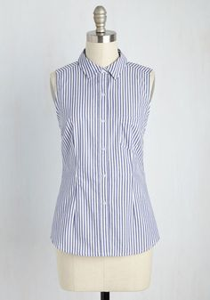 Write Away, Miss Top - Mid-length, Cotton, Woven, Blue, Stripes, Casual, Sleeveless, Good, Collared, White, Buttons, Pockets