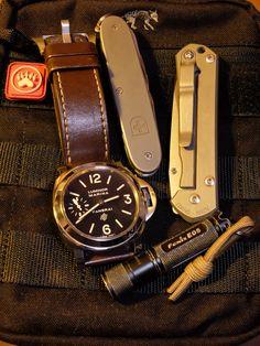 Today's EDC - PAM005, Victorinox TiFarmer, Small Sebenza21, flashlight