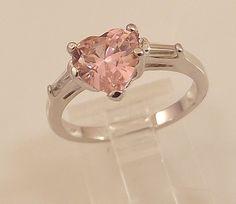 Ladies Russian Formula Pink Tourmaline Heart CZ Silver Ring~Size 6 Free Gift Box