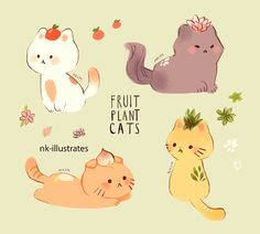 A page dedicated to my silly doodles! Chat Kawaii, Kawaii Cat, Cute Animal Drawings, Kawaii Drawings, Cute Cat Drawing, Plant Illustration, Cute Illustration, Desu Desu, Animal Doodles