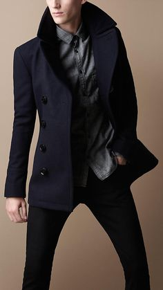 Burberry Brit Black Wool Blend Pea Coat for men Look Fashion, Winter Fashion, Mens Fashion, Sharp Dressed Man, Well Dressed Men, Look Man, Mein Style, Mens Suits, Suit Men