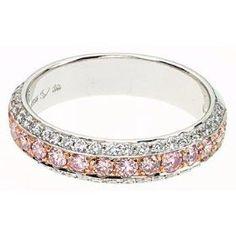 White and pink diamonds eternity ring #diamondjewelry