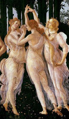 The Graces Detail from La Primavera, Sandro Boticelli, Uffizi Gallery, Firenze
