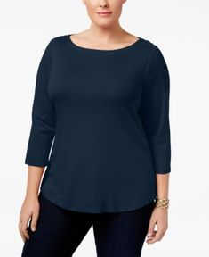 Charter Club Plus Size Cotton Boat-Neck Top, Only at Macy's - Blue 1X