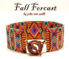 Julie Ann Smith Designs FALL FORCAST Odd Count Peyote Bracelet Pattern by JULIEANNSMITHDESIGNS on Etsy https://www.etsy.com/listing/243246729/julie-ann-smith-designs-fall-forcast-odd