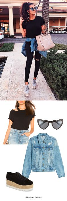 Emily Ann Gemma | The Sweetest Thing Blog | Travel Blogger | Travel Outfit, airport outfit, denim jacket, Black platforms, heart shaped sunglasses Saint Laurent. Chanel Shopping Bag, Fashion Trends, airport outfit, Fashion Blogger. #travelblogger #thesweetestthingblog #EmilyGemma #EmilyAnnGemma #TravelFashion #traveloutfit