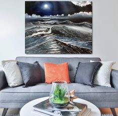 On etsy $350 free shipping Handmade Art, Handmade Items, Seascape Paintings, Instagram Shop, Large Wall Art, Modern Art, Etsy Seller, Colours, Throw Pillows