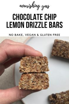 Vegan Chocolate Chip Lemon Drizzle Bars | Nourishing Yas - Simple Plant based Recipes  #veganrecipes #vegandesserts #nobakerecipes #healthyrecipes #lemonbars #homemadenakdbars #veganfood #vegansweets #homemadebars  #plantbased #dairyfree