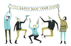 ABBEY LOSSING, illsutration, design, human character, happy new year, part, drawing New Year Illustration, Winter Illustration, People Illustration, Character Illustration, Graphic Design Illustration, Illustrations, New Year Art, New Year Designs, Bar Art