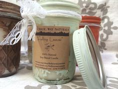 """""""Falling Leaves"""" soy candles in hand-distressed Mason Jars, available at http://www.etsy.com/shop/findyourwaynaturals"""