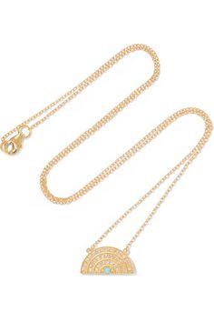 Andrea Fohrman       Rainbow 14-karat gold, diamond and turquoise necklace