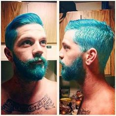#Merman @heshlaw77 got his #hair and #beard #dyed by his lover @doncheadlesbutt. She diluted #AfterMidnight for this look, but you can also get a similar color by using #AtomicTurquoise.