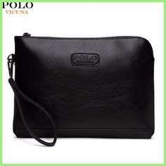 7b49d7eb0cf VICUNA POLO England Style Leather Envelope Clutches For Men High Capacity  Male Clutch With Wristbands Zipper
