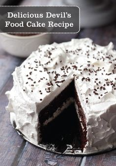 Deep Dark Chocolate Devil's Food Cake is topped with a fluffy marshmallow frosting, making for one rich and delicious dessert.