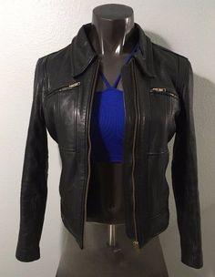 Women's Leather Motorcycle Jacket Size 10 SteinMark Black Heavy #Stienmark #Motorcycle