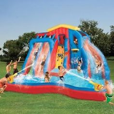 Swimming Pool Above Ground Water Slide Inflatable Kids Fun Family Bouncy Yard