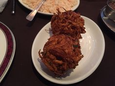 Onion bhajis at Raj Douth, Hitchin.