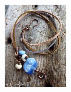 Shoreline Glass Bead Wrap Bracelet by TheCopperstoneForge on Etsy  #jewellery #jewelry #lampwork #wirework #handmade