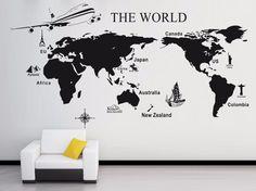 Aliexpress.com: Comprar Mapa del mundo tallada grande etiqueta de la pared decoración mural salón diy vinilo cita poster art decals etiquetas engomadas desprendibles * 0909 de adhesivo permanente fiable proveedores en MIC Store