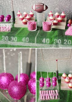 Check out this girly football party sweets table full of ideas of your upcoming Superbowl Parties featuring custom football table props and turf tablecloth.
