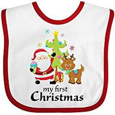 e0bb75f4392 Inktastic My First Christmas Baby Bib Kids Children Presents Tree Cute  Present Carol Song Red Nose Santa Claus Reindeer Rudolph Babies Gift  Clothing Infant