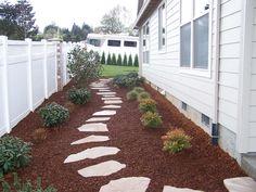 Sideyard idea for Kensington.  Prefer black mulch ground cover.
