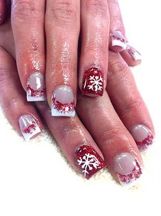 Red Snowflake Acrylic Nail Art. Perfect  Christmas nails! I might have to do something like this around Christmas. LOVE!!