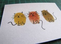 kitty cards…would make nice xmas cards if you add some holly around their necks or a santa hat. kitty cards…would make nice xmas cards if you add some holly around their necks or a santa hat. Fingerprint Art, Art Carte, Ideias Diy, Cat Cards, Cards Diy, Kids Cards, Artist Trading Cards, Watercolor Cards, Cat Watercolour
