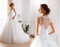 2016 Cheap Illusion Jewel Neckline A Line Sheer Wedding Dresses Lace Appliques Fluffy Wedding Gowns Princess Ball Gown Wedding Dresses Indian Wedding Dresses Long Sleeve Wedding Dresses From One Stopos, $216.09| Dhgate.Com