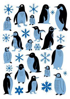 Jack Teagle Penguins - A3 Risograph Print