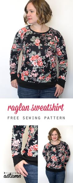 Learn how to make a DIY raglan sweatshirt with this easy to follow sewing tutorial and free pattern in size L. Sewing Patterns Free, Free Sewing, Clothing Patterns, Free Pattern, Pattern Sewing, Shirt Patterns, Pattern Ideas, Dress Patterns, Pants Pattern