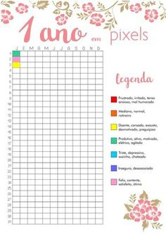 1 ano em pixels 1 year in pixels, amazing idea! Bullet Journal Agenda, Bullet Journal Tracker, Bullet Journal School, Bullet Journal Inspiration, Journal Blog, Journal Layout, To Do Planner, Student Planner, Lettering Tutorial