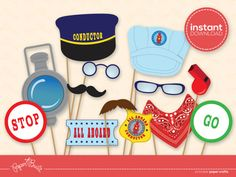INSTANT DOWNLOAD - Printable Train Party Conductor/ Train Photo Booth Props from Paper Built on Etsy, $6.00