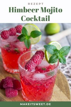 Mit fr… A great summer cocktail: Raspberry Mojito, also called Raspberry Mojito. With fresh raspberries, mint and rum. Fast preparation, few ingredients. Vodka Mojito, Mojito Cocktail, Fruity Cocktails, Cocktail Food, Cocktail Recipes Fruit, Drinks Alcohol Recipes, Yummy Drinks, Alcoholic Drinks, Strawberry Banana Milkshake