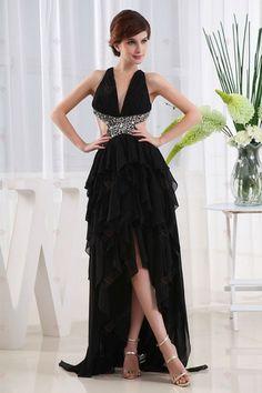 Sexy A-line V-Ausschnitt kurz Frontseite lang Rückenfrei Schwarz Chiffon mit Perlen Abendkleider245,61 €   140,35 €