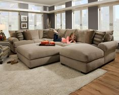 furniture design idea for living room and oversized u shaped sectional with ottoman #livingroomdesignswithsectional
