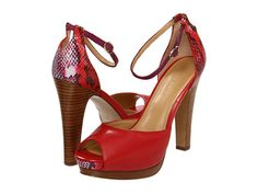 "Red High Heels - crocodile pattern, ankle strap - 4+ inch heel - 1+"" platform - $71 Nine West PickMeUp Red Combo -"