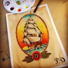 Traditional ship Tattoo Design