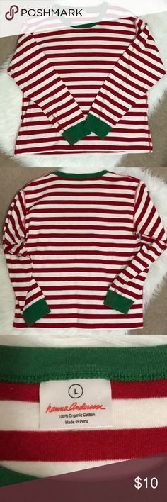 Hanna Andersson Christmas Long Sleeve Shirt 🎅🤶 Adorable Christmas Hanna Andersson Long Sleeve Shirt.  Red/White Striped with green cuffs and neck.  Size large.  100% organic cotton.  EUC no rips, stains, tears or pilling. Hanna Andersson Tops Tees - Long Sleeve
