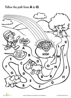 St. Patrick's Day Preschool The Alphabet Mazes Worksheets: Follow the Letter Path from A to O