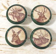 """1.5/"""" Dresser Knobs 6 Distressed Woodland Animal Wood Knobs Nursery Decor"""
