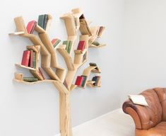 """A tree-shaped shelf to cover with leaves (and by """"leaves"""", I mean books). 