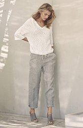 Caslon® Hoodie & Crop Linen Pants