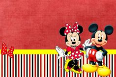 Minnie and Mickey in Red: Free Printable Birthday Invitations. Minnie Mouse Birthday Invitations, Mickey Mouse Birthday Invitations, Free Printable Birthday Invitations, Birthday Template, Minnie Birthday, 3rd Birthday, Mickey E Minnie Mouse, Fiesta Mickey Mouse, Scrapbook Da Disney