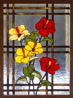 faux stained glass of hibiscus flowers - Yahoo Image Search Results Stained Glass Paint, Stained Glass Flowers, Stained Glass Designs, Stained Glass Panels, Stained Glass Projects, Stained Glass Patterns, Glass Artwork, Glass Wall Art, Window Glass