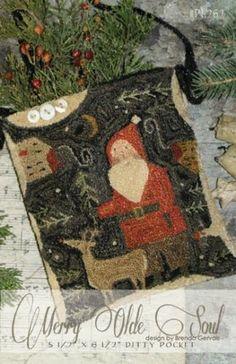 "Primitive Folk Art Punch Needle Pattern ""Merry Olde Soul"" by Brenda Gervais"