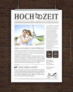 Originelle Hochzeitseinladung im Zeitungsstil